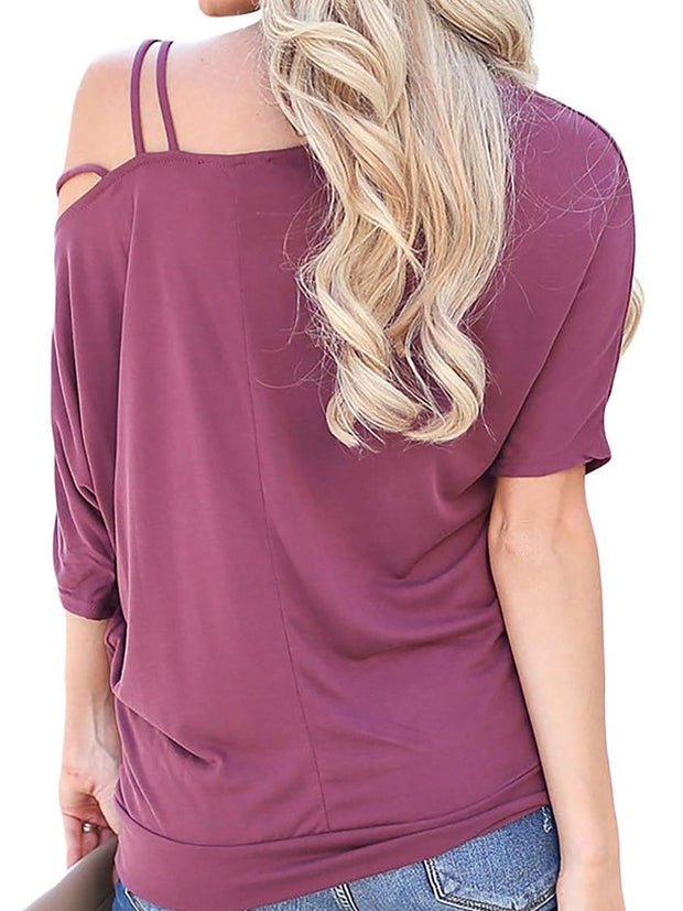 Fashion Pure Colour Batwing Sleeve Loose T-Shirt