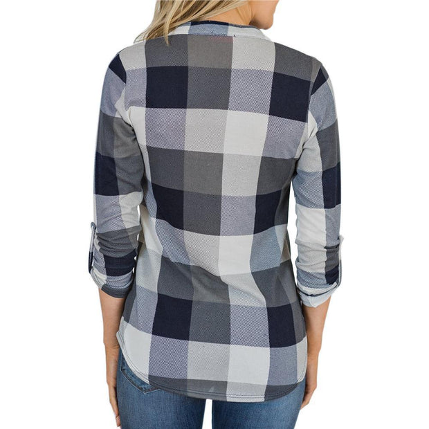 V-neck Plaid Long Sleeve T-shirt Tops