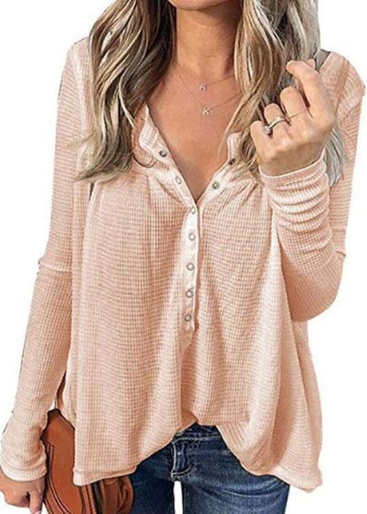 Waffle Loose Button Long Sleeve Top