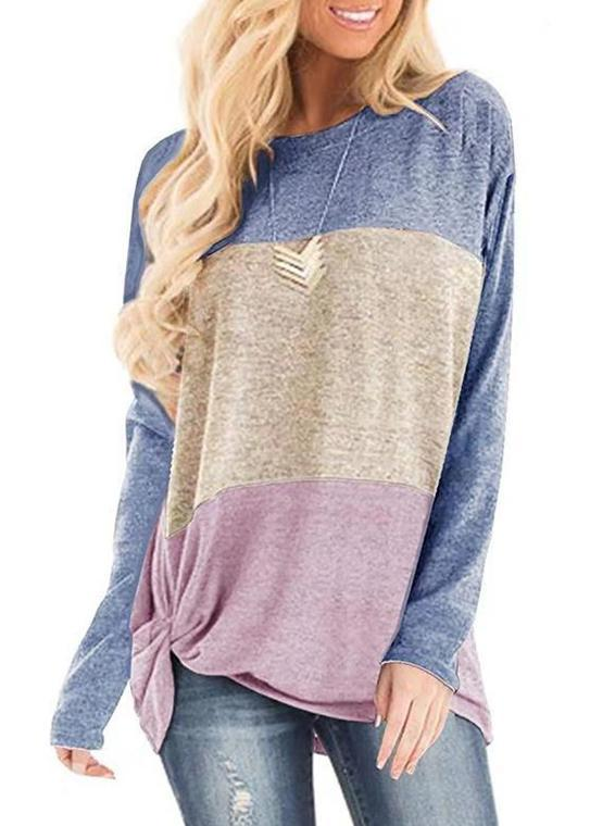 Round Collar Splice Color Block Knot-front Long Sleeve T-shirt