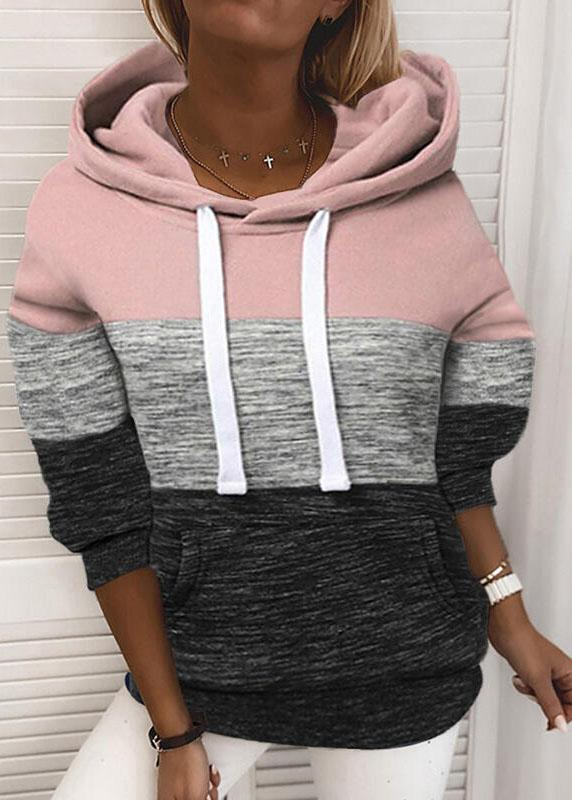 Ladies Long Sleeve Hooded Casual Color Block Pullover