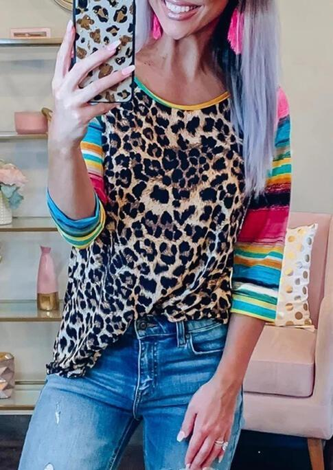 Leopard Printed Neon Splicing Long sleeve T-Shirt Tee