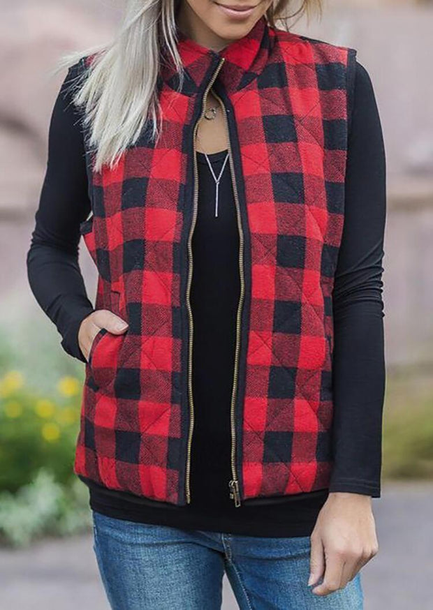 Plaid Pocket Sleeveless Vest Coat without Necklace