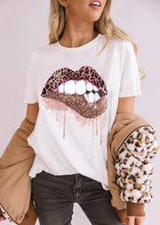 Leopard Lips O-Neck T-Shirt Tee - Black