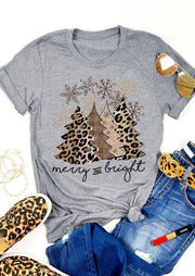Leopard Christmas Tree Snowflake Merry And Bright T-Shirt