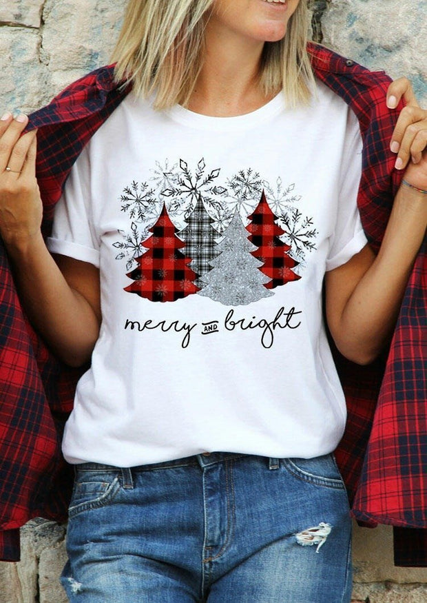 Christmas Leopard Plaid Tree Snowflake Merry And Bright T-Shirt