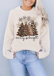 Leopard Christmas Tree Snowflake Merry And Bright Sweatshirt