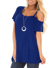 Round Collar Solid Off Shoulder Short Sleeve T-Shirt
