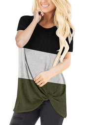 Round Collar Color Block Splice Short Sleeve T-shirt