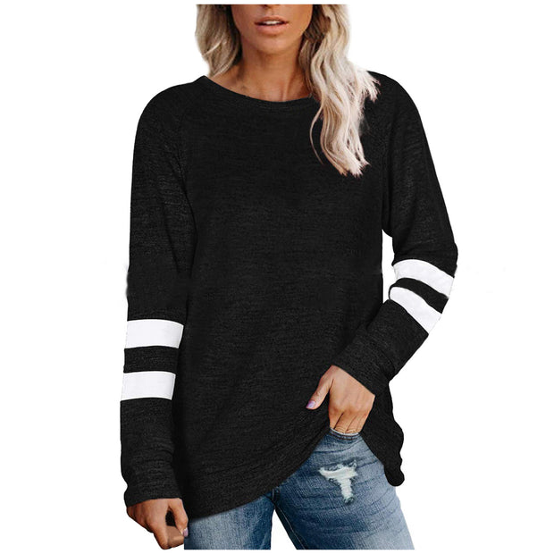 Cuff striped printed knit bottoming T-shirt