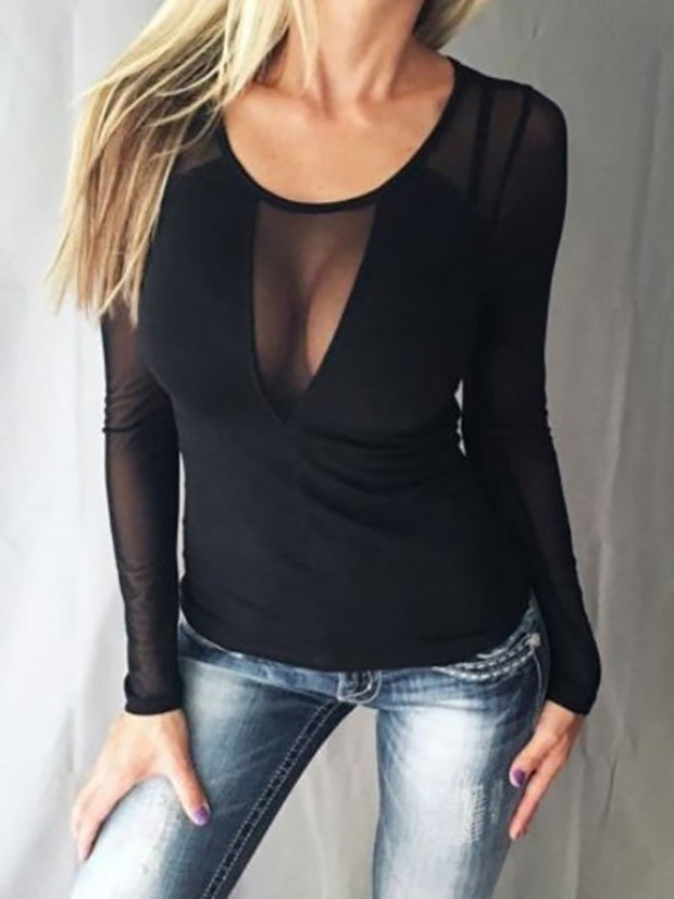 Crew Neck  Patchwork See-Through  Plain Long Sleeve T-Shirts