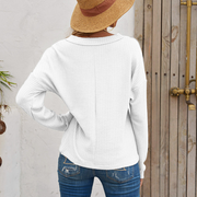 Women Long sleeve V-neck casual sweater