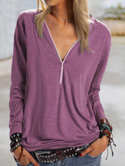 2020 New zipper solid color long sleeve t-shirt