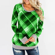 Round Collar Button Plaid Long Sleeve T-shirt