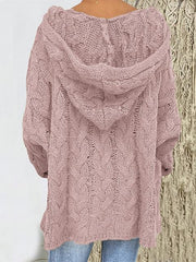 Solid Color Twist Knitting Hoodie Sweater