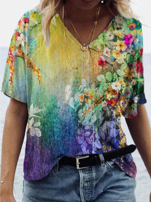Watercolor Flower Painting Print T-shirt