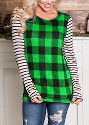 Round Collar Plaid Stripe Splice Long Sleeve T-shirt