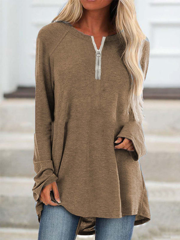 Casual Solid Zipper Long Sleeve T-shirt Tops