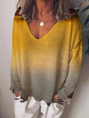 Printed Long Sleeve V Neck Shirts