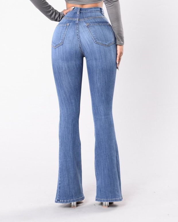 High Waisted Studs Wide Leg Jeans
