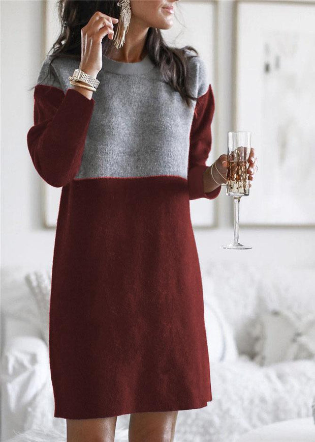 Women's Loose Plus Size Round Neck Long Sleeve Dress