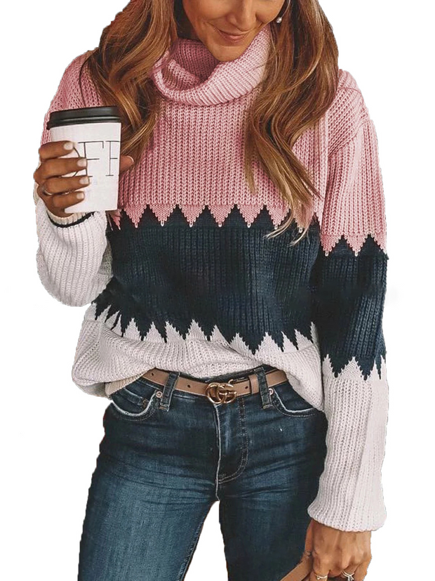 Thick High Neck Pullover Long Sleeve Knit Sweater