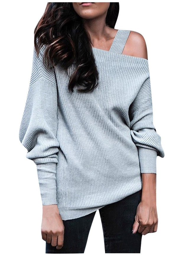 Long-sleeved Solid Color Pit Stripe Off-shoulder Knitted Sweater