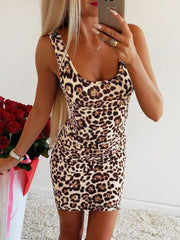 Women Leopard Print Tank Dress Sleeveless Square Neck Sheath Streets Party Clubs Slim Dress