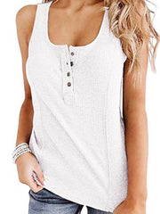 Round Collar Button Sleeveless Solid Camis