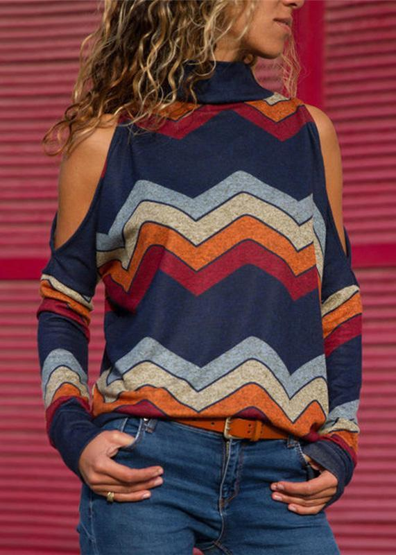 Fashionable Cold-Shoulder Wavy Stripes Long-sleeve Top