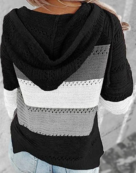 Hollow Out Knitted Lightweight Casual Long sleeve Hoodie Black👚(50% OFF AND BUY 2 FREE SHIPPING)