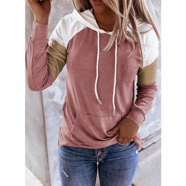 Long Sleeve Color Block Oversized Hoodie