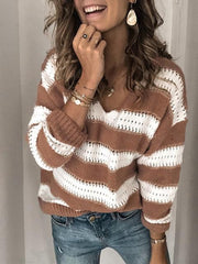 Striped Long Sleeve Lightweight Sweater Jumper