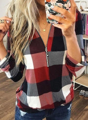 NEW! Color Block V-Neck Long Sleeves Casual Blouses