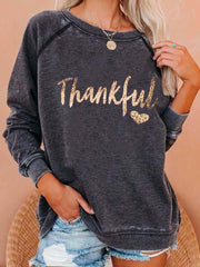 "Women's ""Thankful"" Print Sweatshirt"