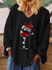 Long sleeve Christmas wine glass print V-neck T-shirt