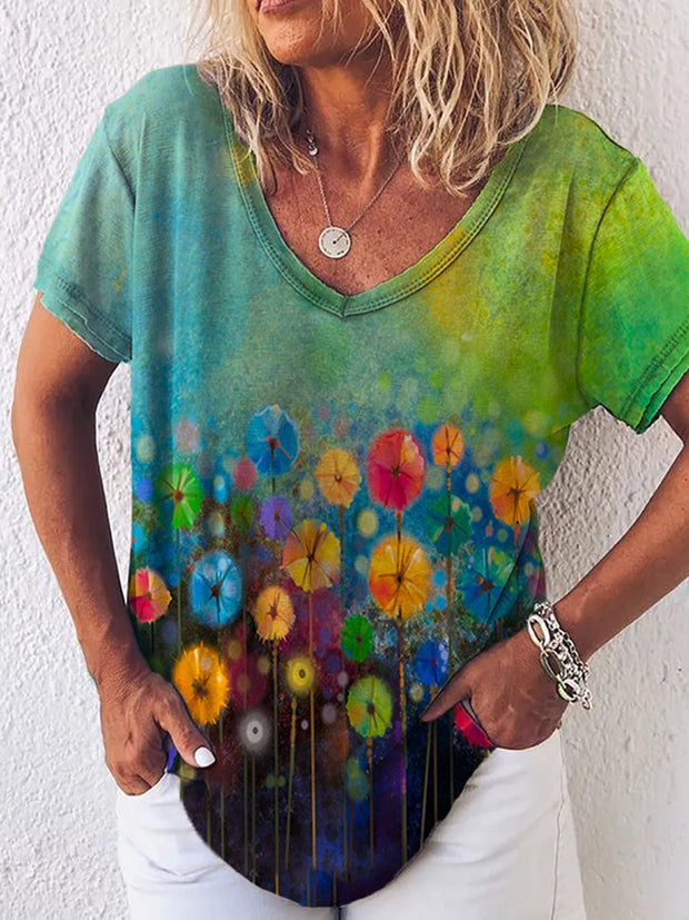 Gradient Flower Painting Print T-shirt