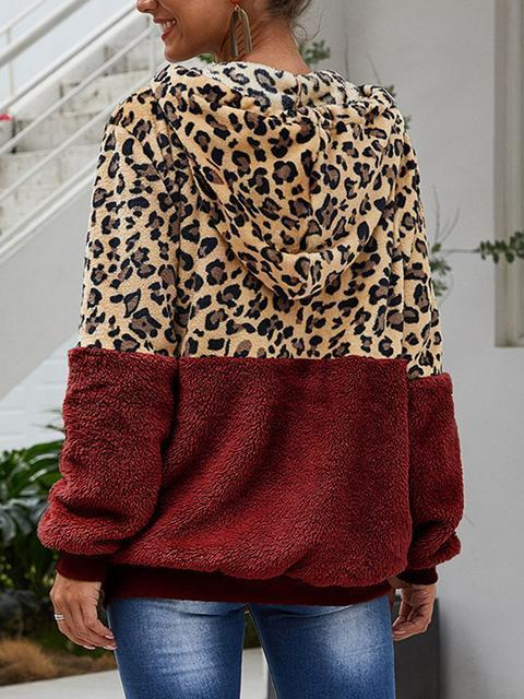 Leopard Print Hooded Plush Coat