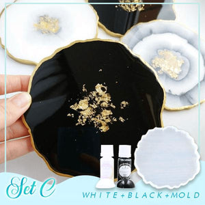 Crystal Resin Coaster DIY Kit Crafts & DIY esfrankius Set C: White + Black + Mold