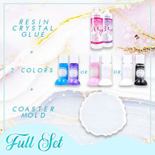 Load image into Gallery viewer, Crystal Resin Coaster DIY Kit Crafts & DIY esfrankius Full Set A : Pink + White + Mold + Resin Crystal Glue