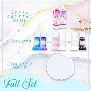 Crystal Resin Coaster DIY Kit Crafts & DIY esfrankius Full Set A : Pink + White + Mold + Resin Crystal Glue