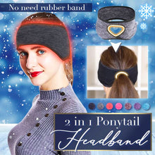Load image into Gallery viewer, 2 In 1 Ponytail Headband Beauty mikgoodies Black