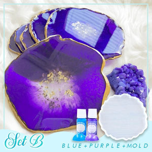 Crystal Resin Coaster DIY Kit Crafts & DIY esfrankius Set B: Blue + Purple + Mold
