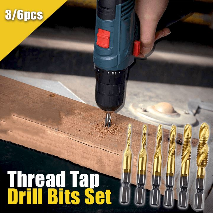 Thread Tap Drill Bits Set (3/6pcs) Workshop esfrankius Small Set (M3+M4+M5)