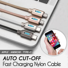 Load image into Gallery viewer, Auto Cut-off Fast Charging Nylon Cable Innovative esfranki.co Gold iOS