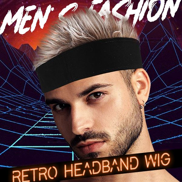 Men's Fashion - Spiked Hair Wig Headband Beauty mikgoodies Blonde Hair/ Black Headband