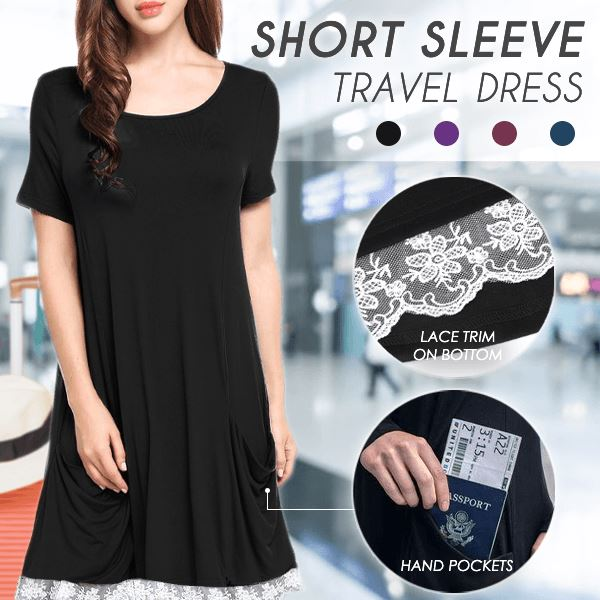 Short Sleeve Travel Lace Dress Beauty AiryIndigo BLACK S