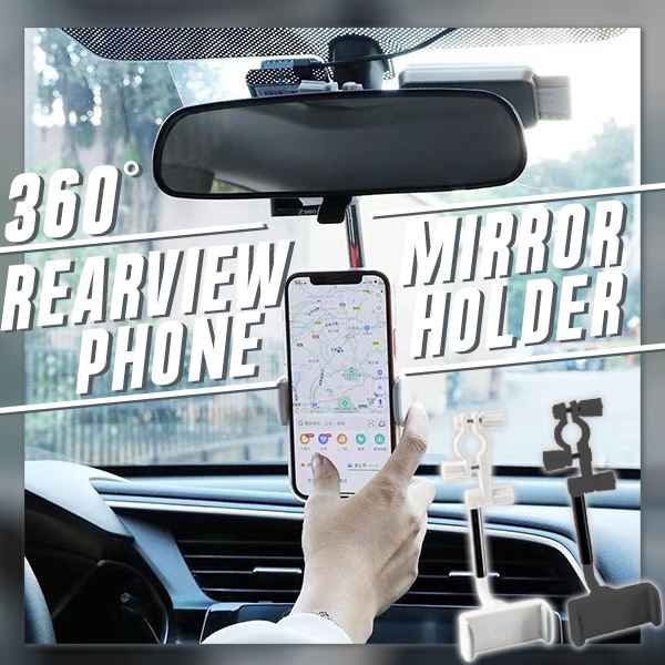 360° Rearview Mirror Phone Holder Car Electronics & Accessories glassylilac White