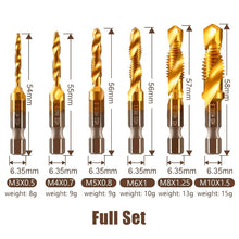 Load image into Gallery viewer, Thread Tap Drill Bits Set (3/6pcs) Workshop esfrankius Full Set(M3+M4+M5+M6+M8+M10)