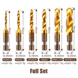 Thread Tap Drill Bits Set (3/6pcs) Workshop esfrankius Full Set(M3+M4+M5+M6+M8+M10)